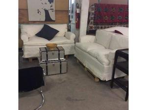 Coppia divani 2 posti con fodera bianca
