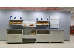 Retrobanco panetteria da 4 mt.: n.2 mobili a giorno e n.1