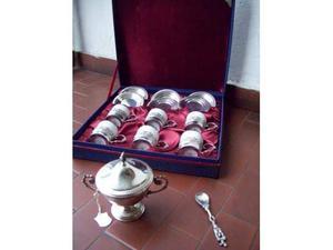 Servizio da caffe' 6 tazze in peltro e ceramica