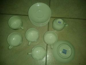 Set 6 tazzine con piattini porcellana cipa quadrifoglio wok