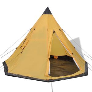 vidaXL Tenda per 4 persone gialla