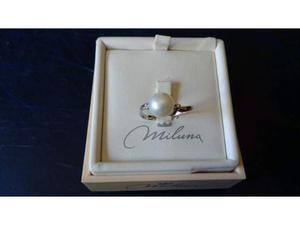 Anello MILUNA in oro bianco, perla e diamantini NUOVO