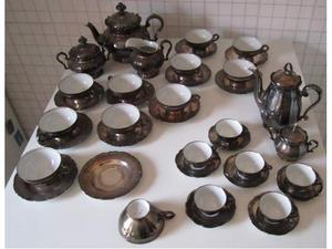 Servizio da te' e caffe' in porcellana argentata