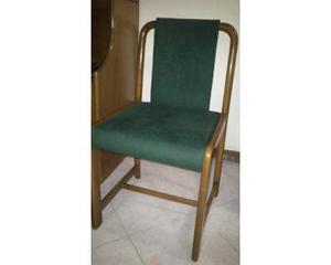 Set 6 sedie in legno di noce e tessuto velluto verde