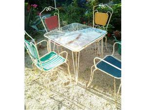 Tavolo con sedie in ferro anni 60