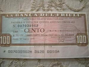 Miniassegno Banca del Friuli 100 Lire Comm.Prov.Trieste
