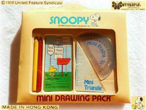 SNOOPY WOODSTOCK VINTAGE  mini set da disegno matite