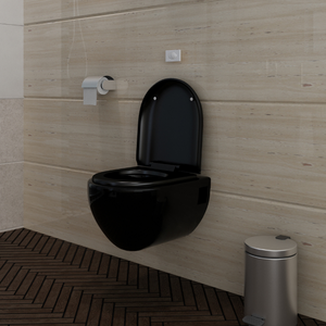 vidaXL WC Water da parete design unico nero in ceramica