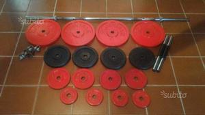 Dischi ghisa 72kg bilancere manubri pesi 28mm