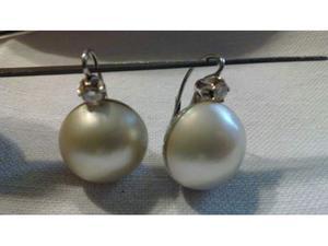 Orecchini in Oro Bianco Perle e Diamanti taglio Brillante c