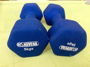 Set manubri in ghisa gommati kg 5 rovera