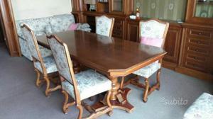 Tavolo sala e 4 sedie in noce stile classico