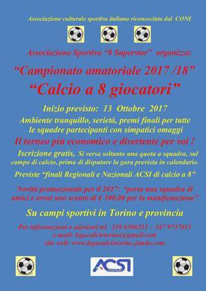 Campionato / Torneo di calcio a 8 per Autunno  a Torino