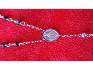 Nuova collana rosario oro bianco 18 kt e onice nera