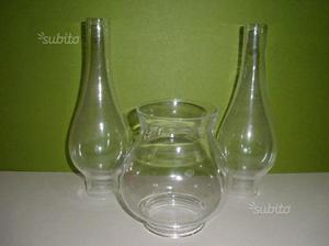 Tubi in vetro d'epoca per lampade a petrolio