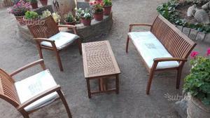 Salotto giardino bali in legno acacia con cuscini