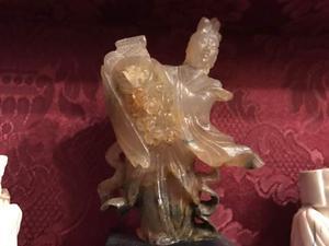 Antichità Cina Scultura in giada rosa epoca fine 800