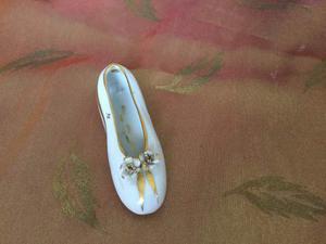 Scarpa ballerina di Capodimonte con intarsi in oro anni 50