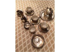 Servizio tazze vintage in porcellana e peltro