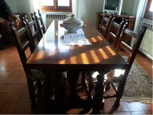 Tavolo in noce rettangolare con 6 sedie