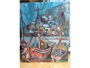 Vecchio dipinto olio su tela naif raffigurante barche al