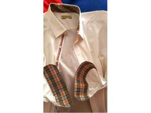 Camicia uomo BURBERRY LONDON bianca colletto check beige 6XL
