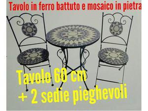 Tavolo da 60 cm in ferro battuto con 2 sedie