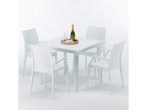 Tavolo in polyrattan bianco + sedie