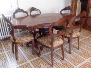 Tavolo legno massello+6 sedie e tavolino