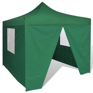 vidaXL Tenda Pieghevole Verde 3 x m con 4 Pareti