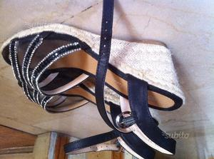 Sandalo 37 nero con strass e tacco