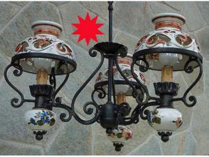 Lampadario ferro battuto 3 luci paralumi ceramica