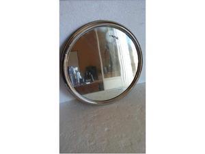 Vassoio rotondo da rosoliera in metallo e vetro vintage