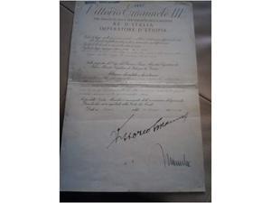 Decreto del governo (firme autografe Mussolini e V.E.III)