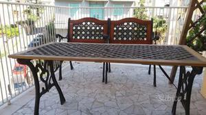 Tavolo Sedie e Panca in ghisa e legno