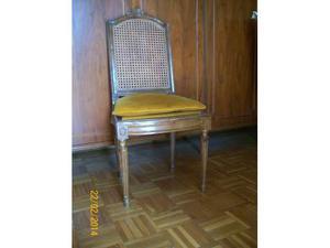 2 sedie in legno - vimini e velluto oro
