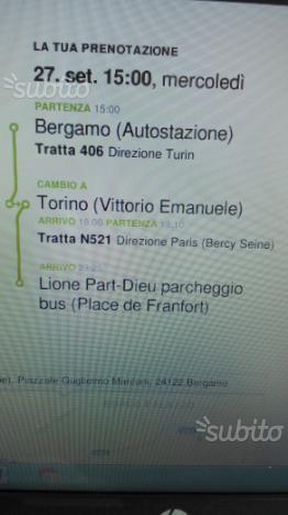 Biglietti Bergamo-Lione andata ritorno per 2pers