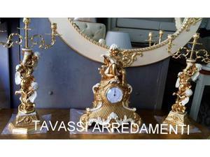 Tris orologio oro foglia con doppio candelabro napoli