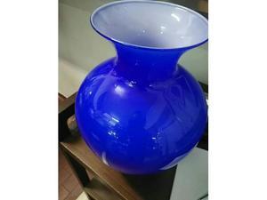 Vaso vetro blu opale