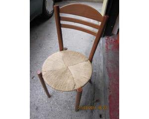 4 sedie impagliate in legno con seduta rotonda