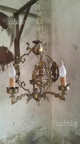 Lampadario 3 luci in ottone