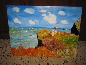 Passeggiata sulla scogliera copia ad olio di Monet