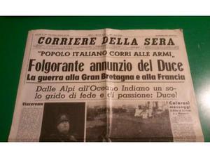 Prima pagina del Corriere della Sera