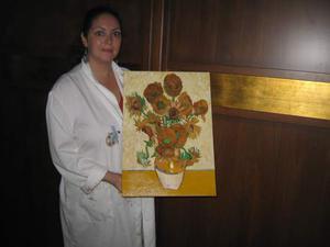 Vason con girasoli copia ad olio di Van Gogh