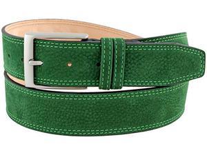 Cintura da uomo in pelle nabuk verde con due passanti