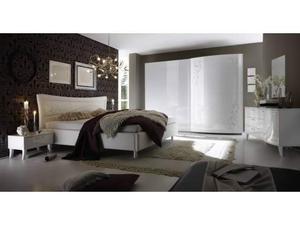 Camera da letto laccato bianco luci ante bombate