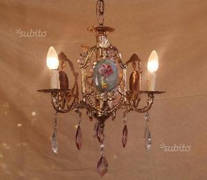 Lampadario in bronzo, cristalli viola e ceramica