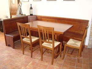 Panca angolare in legno massello tavolo e sedie