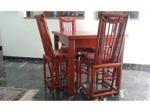 Tavolo allungabile con sedie in rattan wood