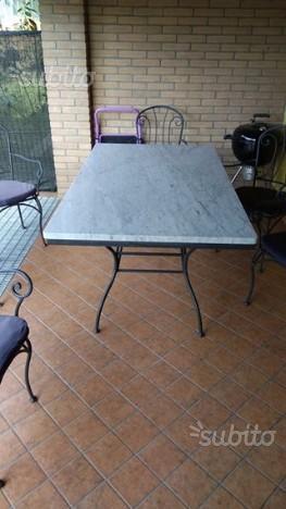 Tavolo da esterno in marmo di Carrara + 6 sedie
